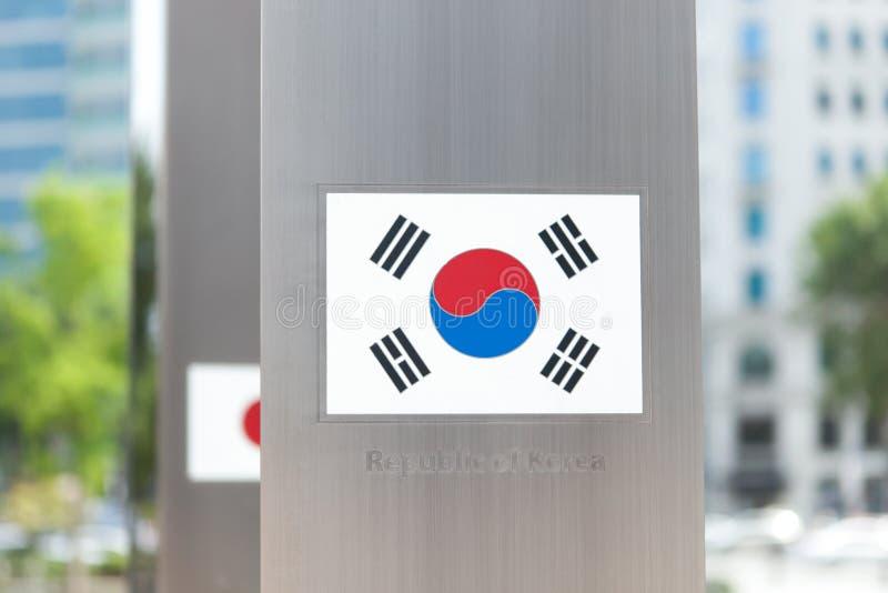Серия национальных флагов на поляке - Южной Корее стоковое изображение rf