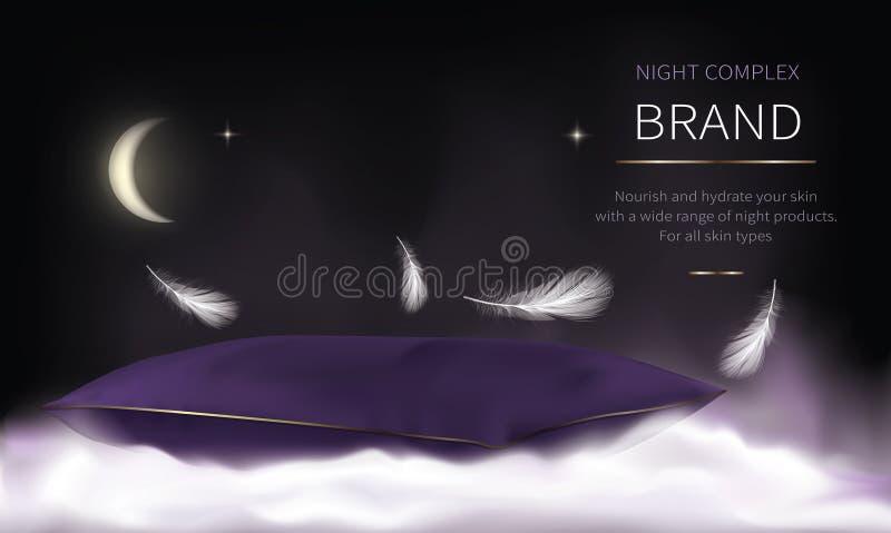 Серия ночи косметическая для заботы кожи стороны иллюстрация штока