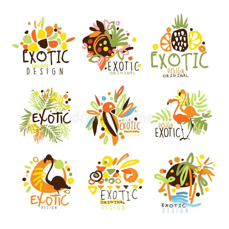 Серия логотипа шаблона графического дизайна экзотических летних каникулов красочная, рука нарисованные восковки вектора бесплатная иллюстрация