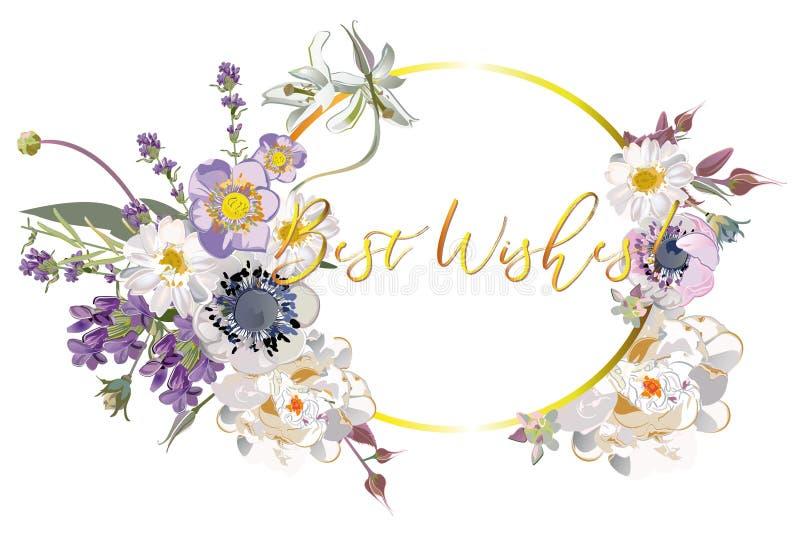 Серия предпосылок рамки приглашения с летом и цветками и листьями весны иллюстрация вектора