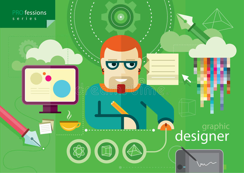 Серия профессии график-дизайнера иллюстрация штока