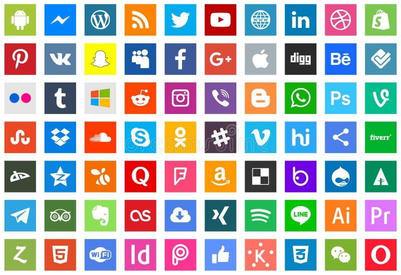 Серия социальных средств массовой информации и значков технологии иллюстрация вектора