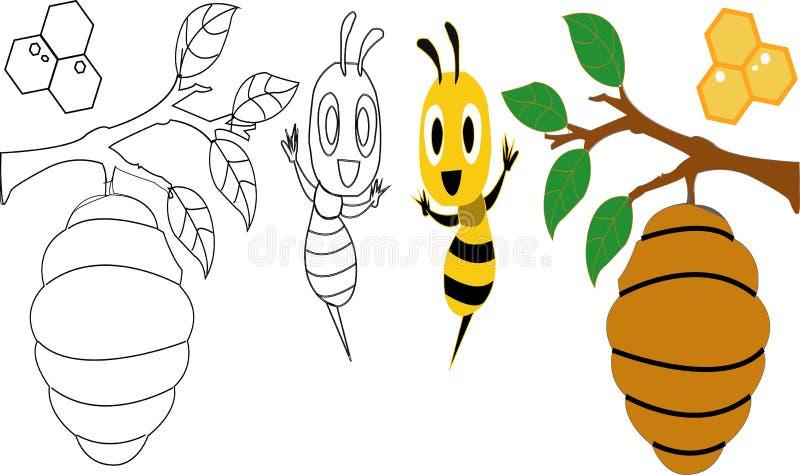Серия талисмана пчелы мультфильма милая Красивая милая пчела Указывать пчелы мультфильма милый иллюстрация вектора изолировала 20 иллюстрация вектора