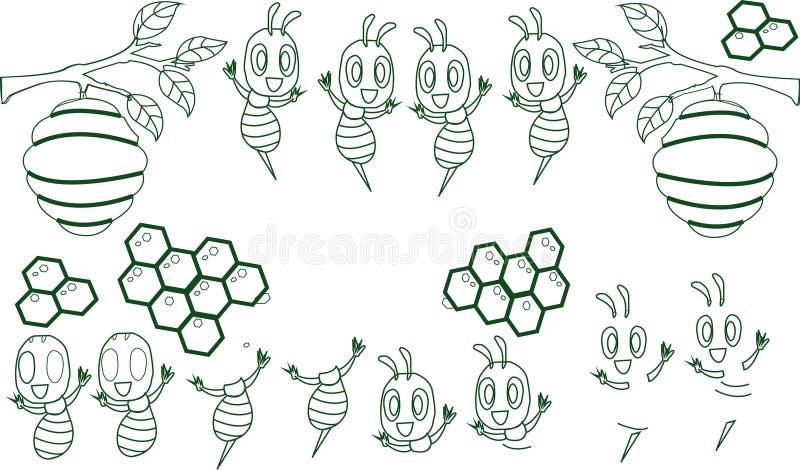 Серия талисмана пчелы мультфильма милая Красивая милая пчела Указывать пчелы мультфильма милый Изолированная иллюстрация вектора иллюстрация вектора