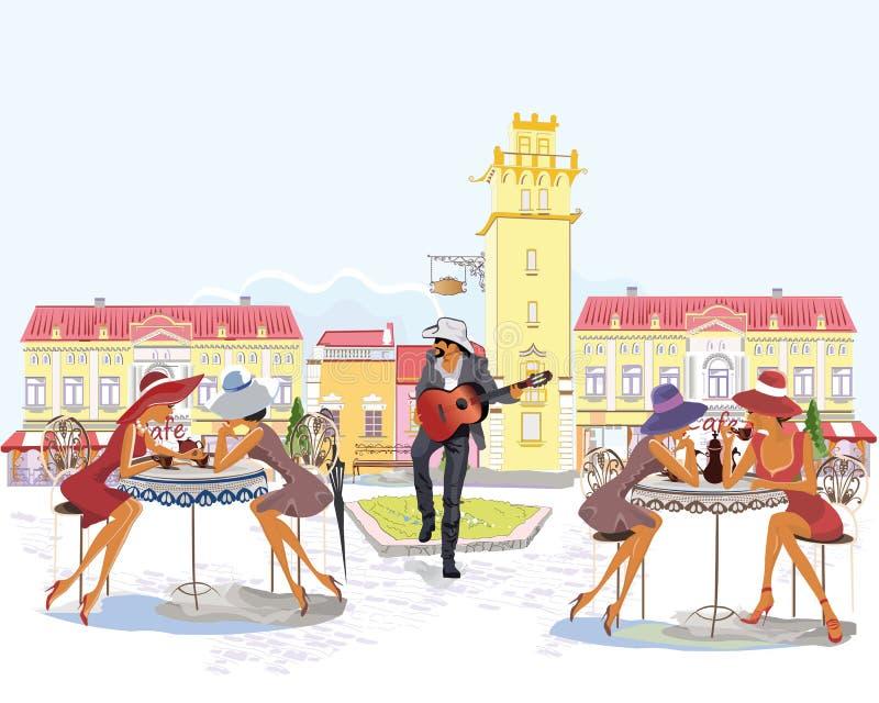 Серия улиц с людьми в старом городе, кафем улицы иллюстрация штока
