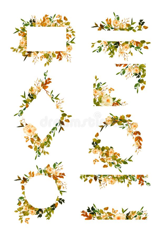 Серия флористических рамок и венков бесплатная иллюстрация
