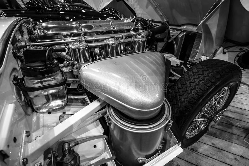 Серия ягуара машинного отсека E типа 1 coupe, 1963 стоковое фото rf