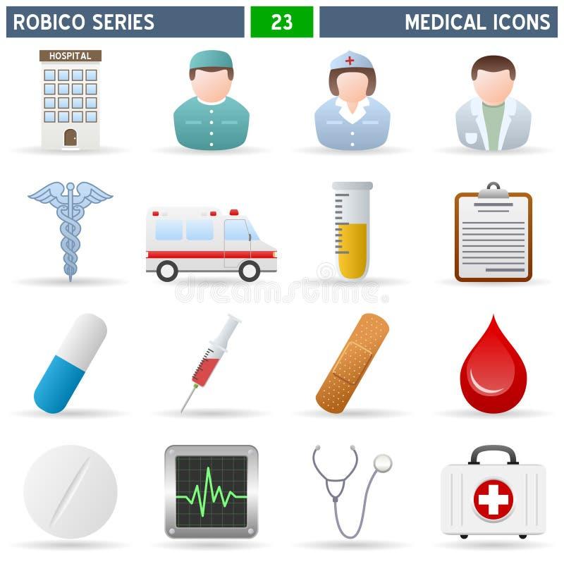 серия robico икон медицинская иллюстрация вектора