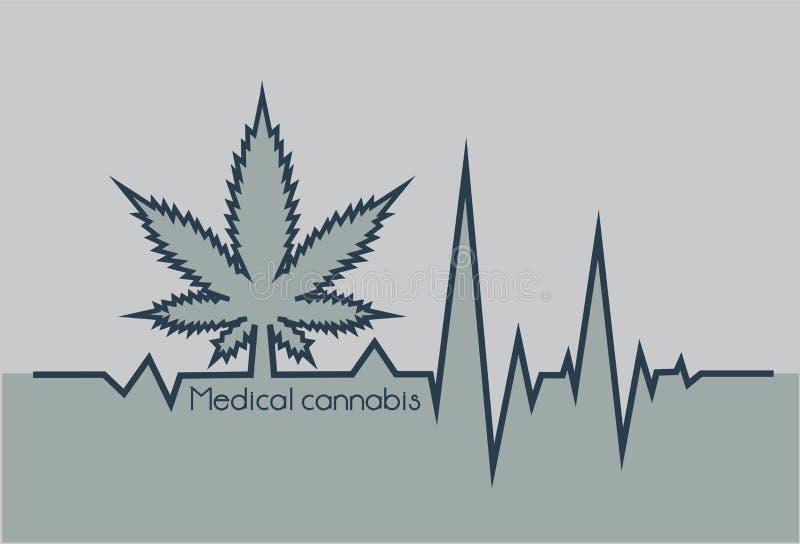 Серое биение сердца с медицинским marjuana o бесплатная иллюстрация