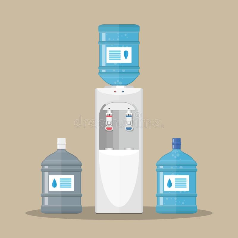 Серое водяное охлаждение с голубой бутылкой иллюстрация штока
