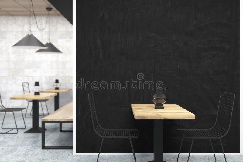 Серое и деревянное кафе, черный конец стены вверх иллюстрация вектора