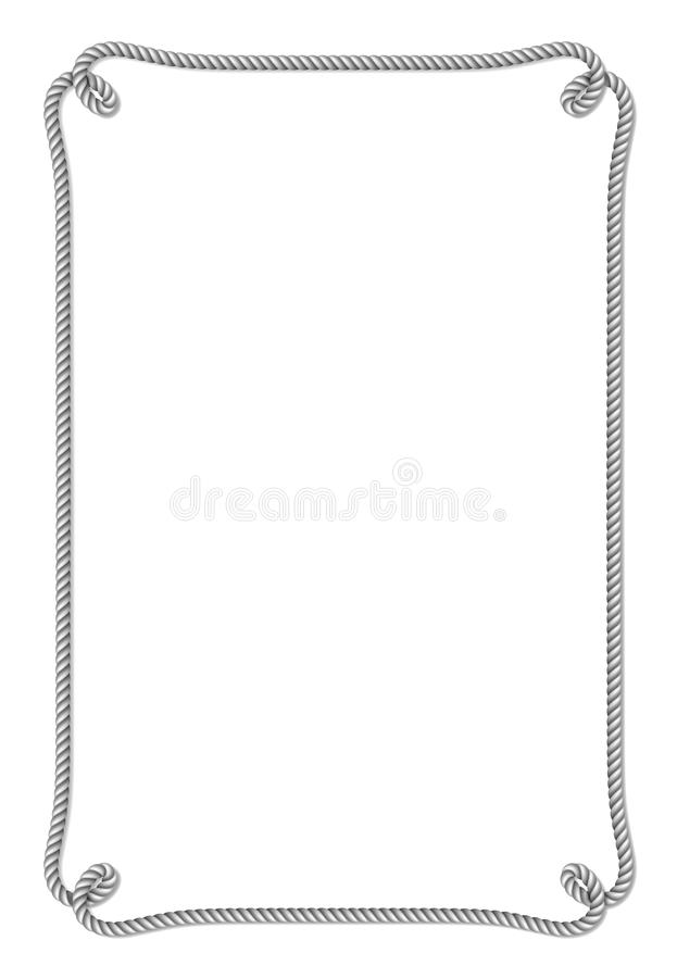 Серой граница сплетенная веревочкой вектора с узлами веревочки, вертикальная рамка вектора, на белизне бесплатная иллюстрация