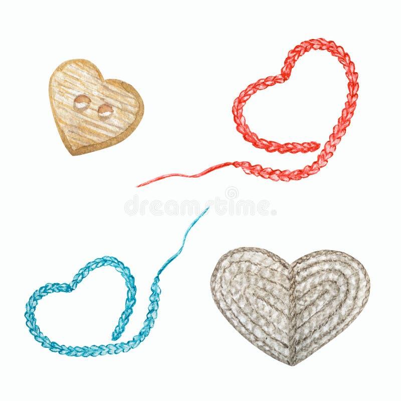 Серо-голубые черные сердца, деревянная кнопка сердца, ручная концепция Водоцвет Рука нарисовала хобби-крокет и иллюстрация штока