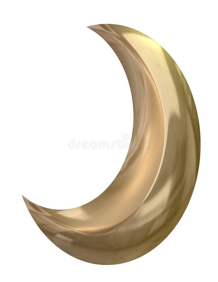серповидная золотистая луна иллюстрация вектора
