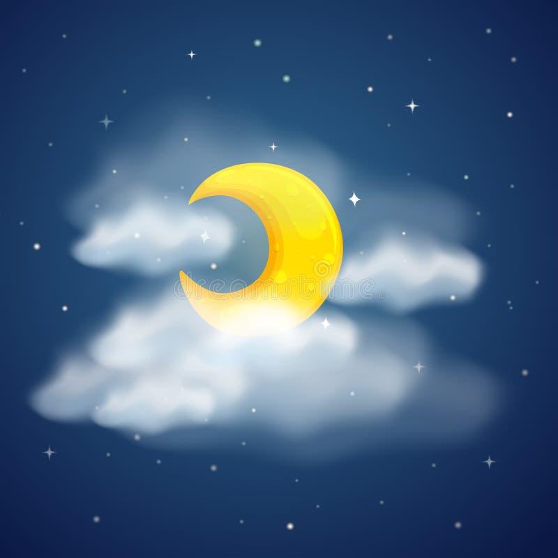 Серповидная луна в темном небе бесплатная иллюстрация
