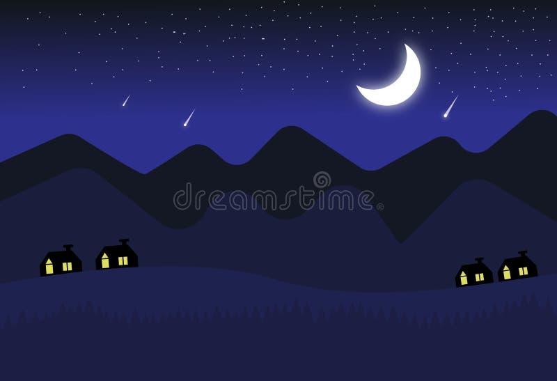 серповидная ночь иллюстрация вектора