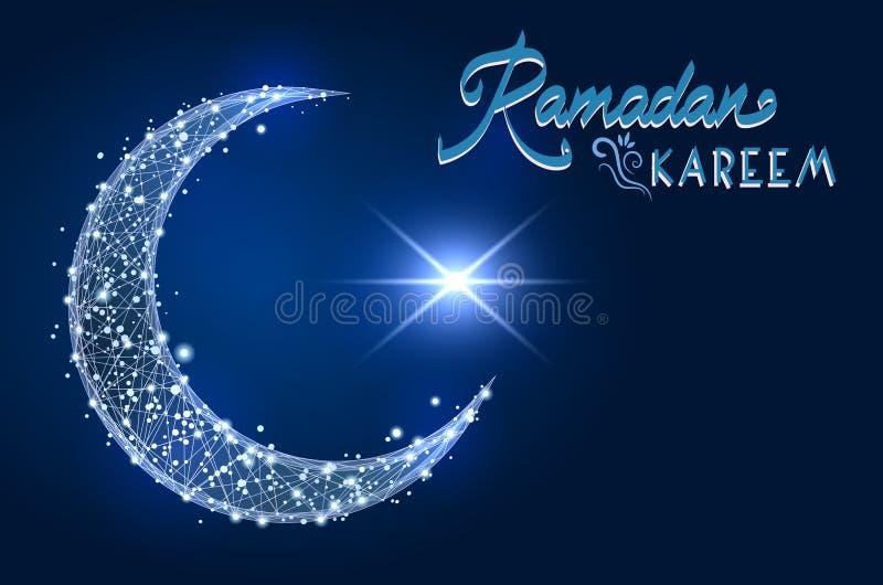 серповидный исламский символ низкое поли wireframe на предпосылке космоса дизайн конспекта иллюстрации полигональной мнимой линии иллюстрация вектора