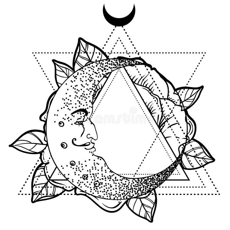 Серповидная луна, розовый цветок, священная геометрия Татуировка fl Blackwork иллюстрация штока