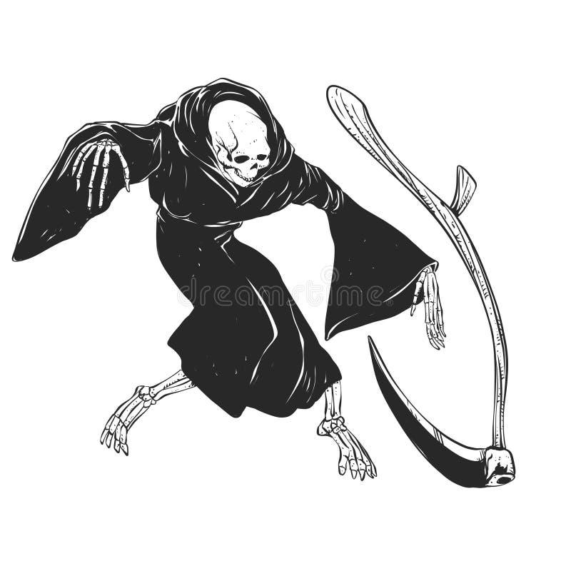 Серп мрачного жнеца бросая - черно-белый иллюстрация штока