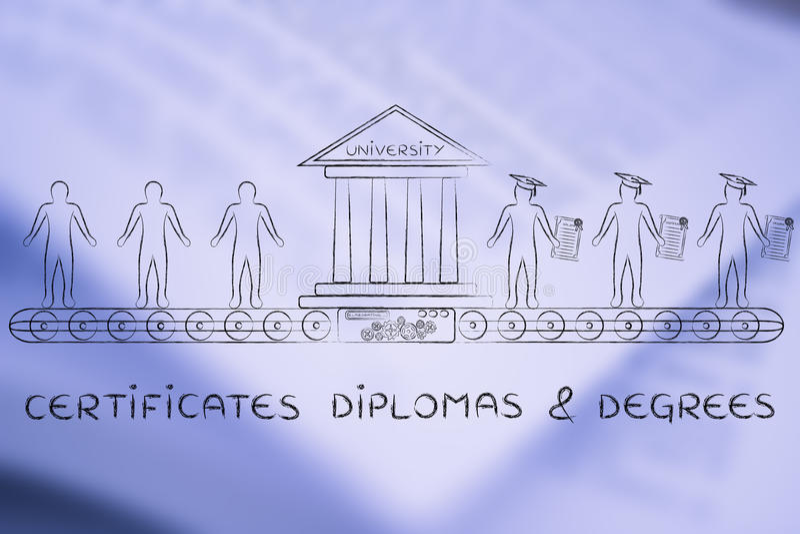 Сертификаты, дипломы & градусы, от студентов к студент-выпускникам стоковые фотографии rf