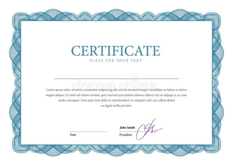 сертификат Валюта дипломов шаблона иллюстрация вектора