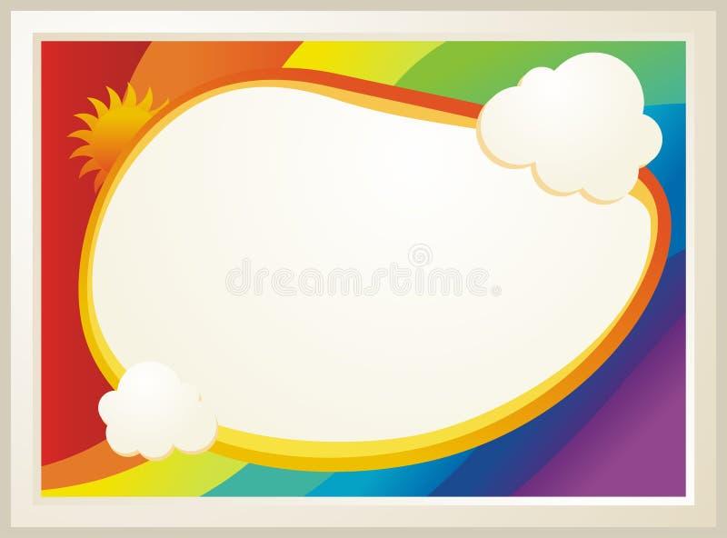 Сертификат диплома детей с предпосылкой радуги иллюстрация вектора