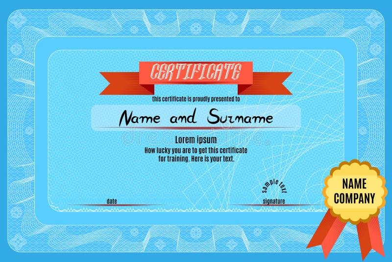 Сертификат диплома для обслуживаний в организации бесплатная иллюстрация