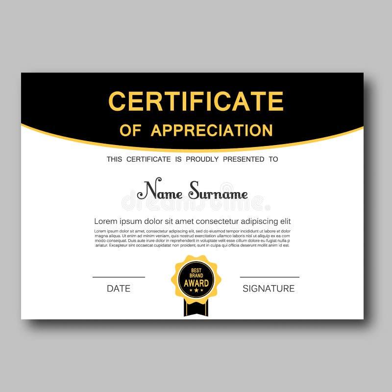 Сертификат достижения награды геометрического дизайна вектора шаблона благодарности дела диплома успеха ультрамодного элегантного иллюстрация вектора