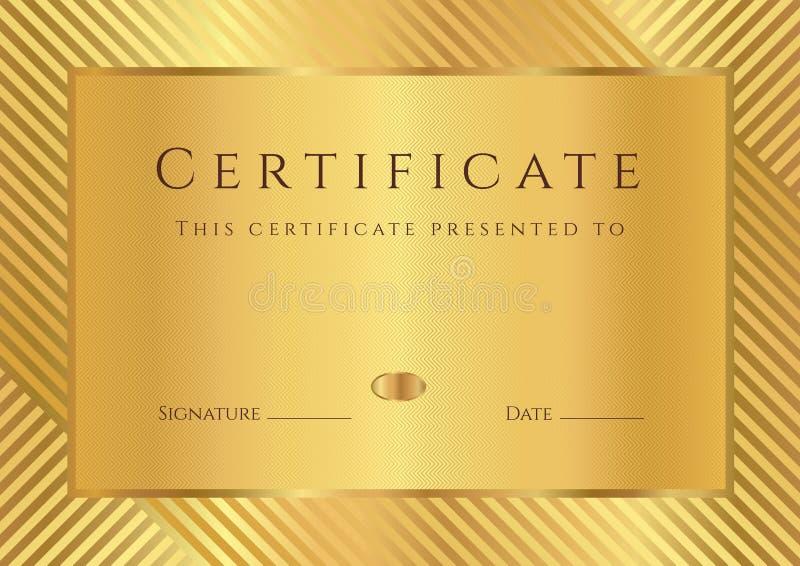 Золотистый шаблон сертификата/диплома бесплатная иллюстрация