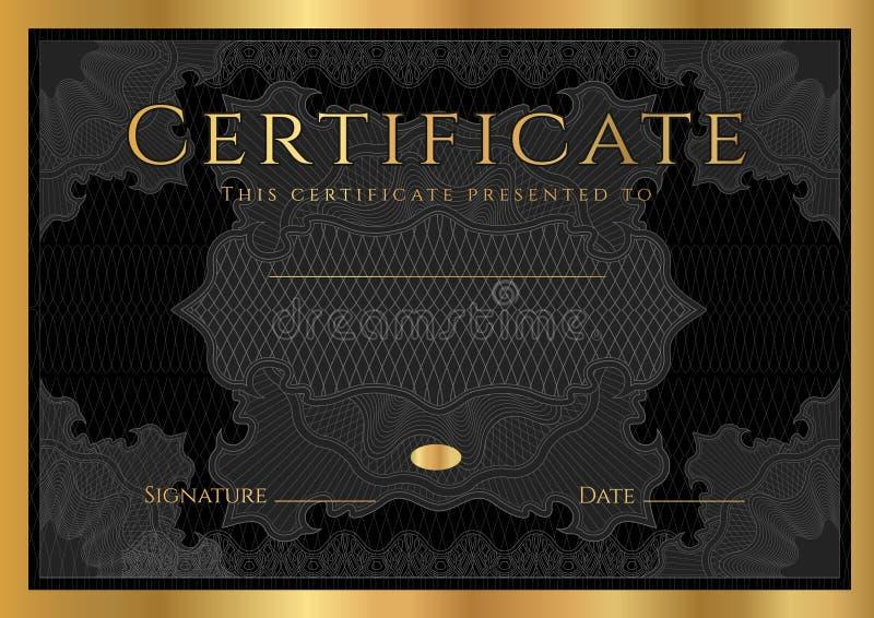 Сертификат, диплом завершения (черных шаблона, предпосылки дизайна) с картиной guilloche иллюстрация вектора