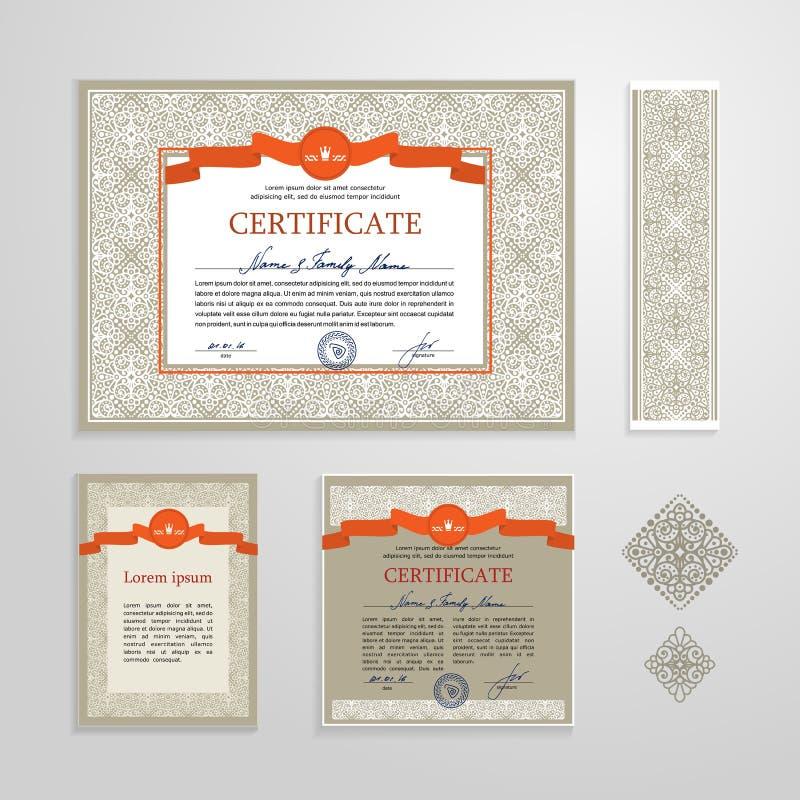 Сертификат, диплом, шаблон дизайна иллюстрация вектора