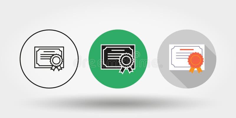 сертификат Комплект икона силуэт Editable тонкая линия плоско вектор бесплатная иллюстрация