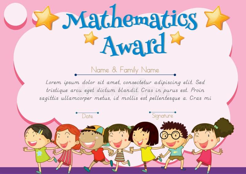 Сертификат награды математики бесплатная иллюстрация