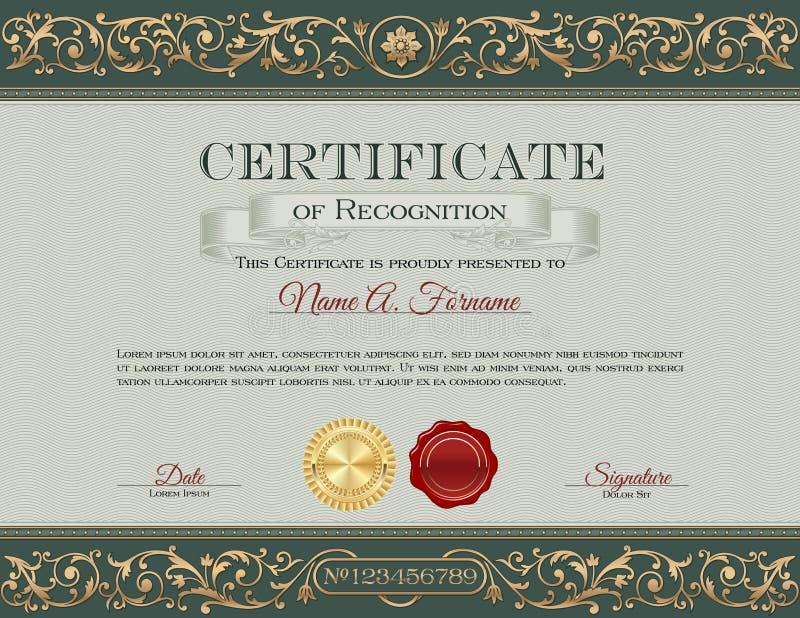Сертификат опознавания Винтаж Флористическая рамка, орнаменты иллюстрация вектора