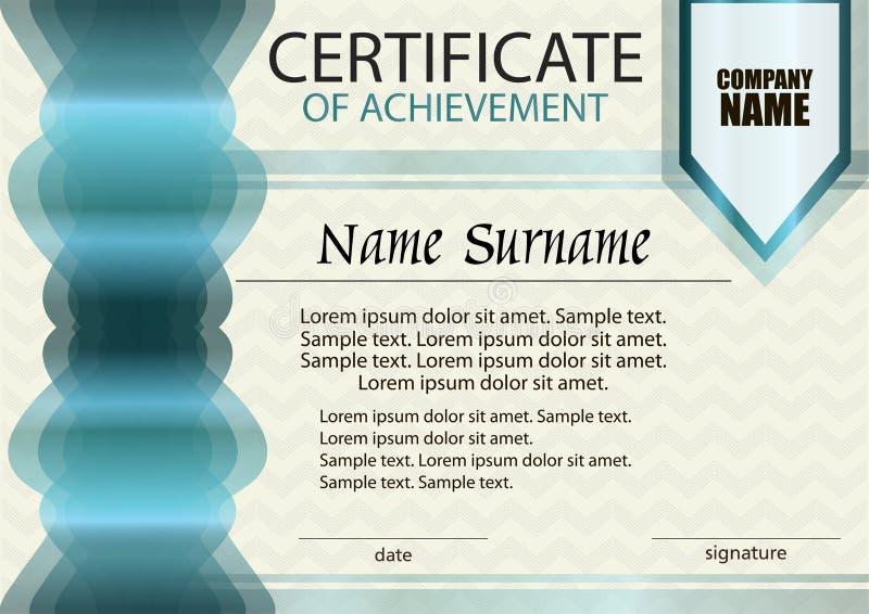 Сертификат достижения или шаблона диплома иллюстрация вектора