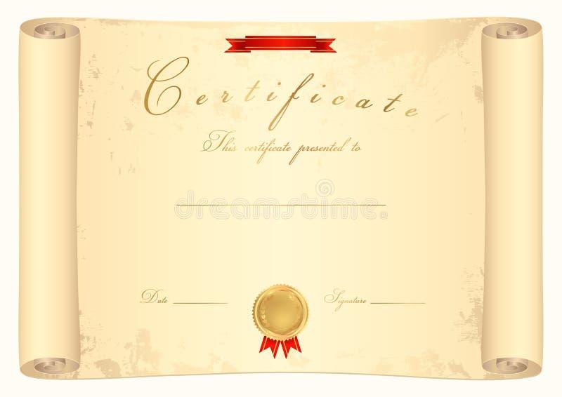 Сертификат переченя иллюстрация вектора