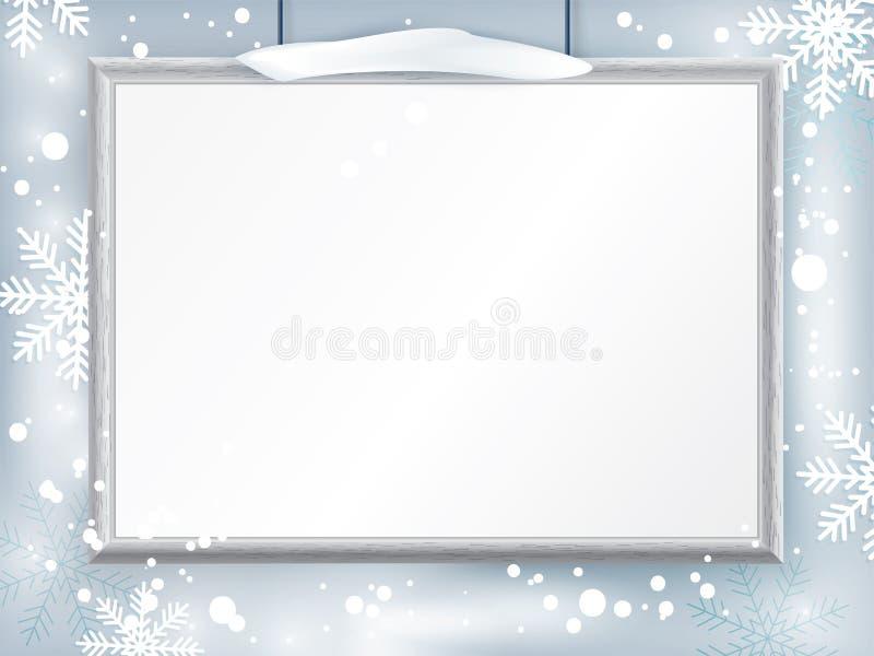 Сертификат рождества с серой реалистической границей на предпосылке снежинки Очистите дизайн, реалистическую тень влияния Зима иллюстрация штока