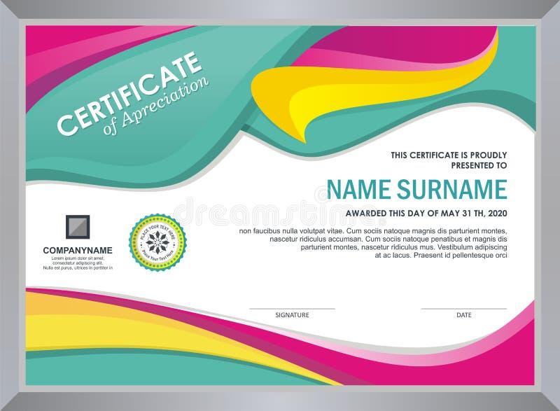 Сертификат с стильным красочным дизайном волны иллюстрация штока