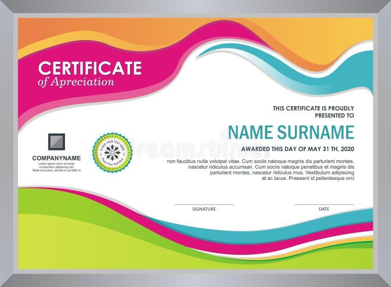Сертификат с стильным красочным дизайном волны иллюстрация вектора