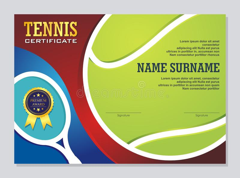 Сертификат тенниса - шаблон награды с красочным и стильным дизайном бесплатная иллюстрация