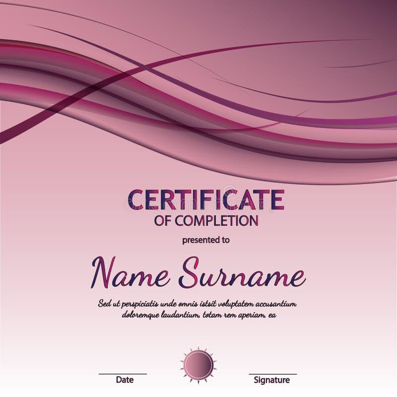 Сертификат шаблона завершения с динамической фиолетовой мягкой волнистой предпосылкой также вектор иллюстрации притяжки corel иллюстрация вектора