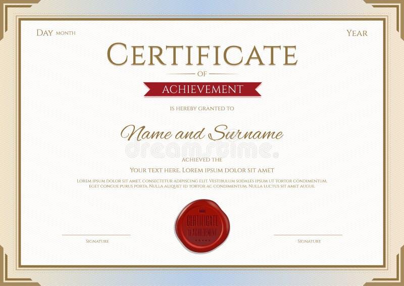 Сертификат шаблона достижения в золоте и красном цвете вектора бесплатная иллюстрация