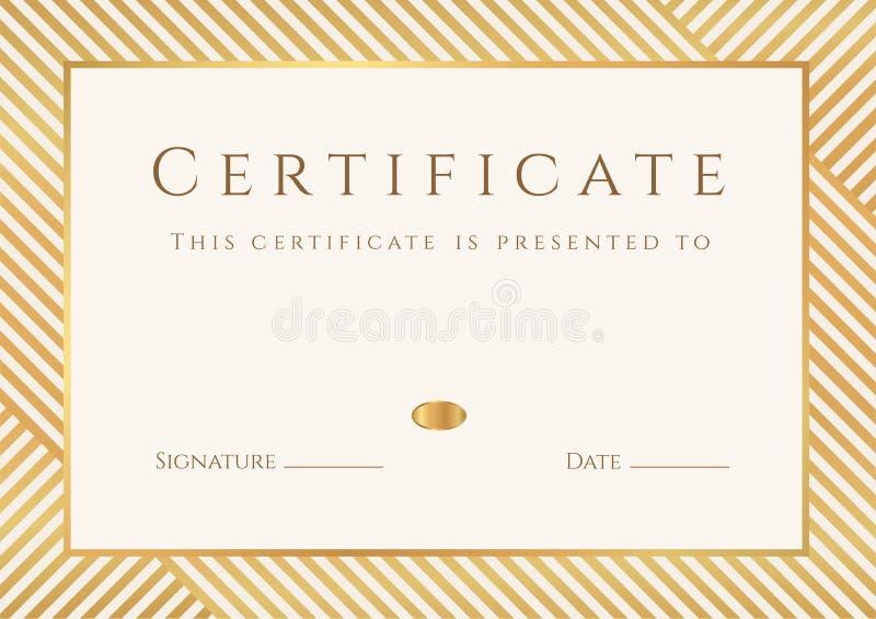 Сертификат, шаблон диплома. Картина награды золота иллюстрация вектора