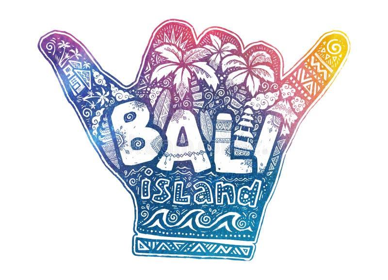 Серферы висят свободный символ вектора руки shaka с белым стилем литерности острова Бали внутренним и занимаясь серфингом темы do иллюстрация вектора