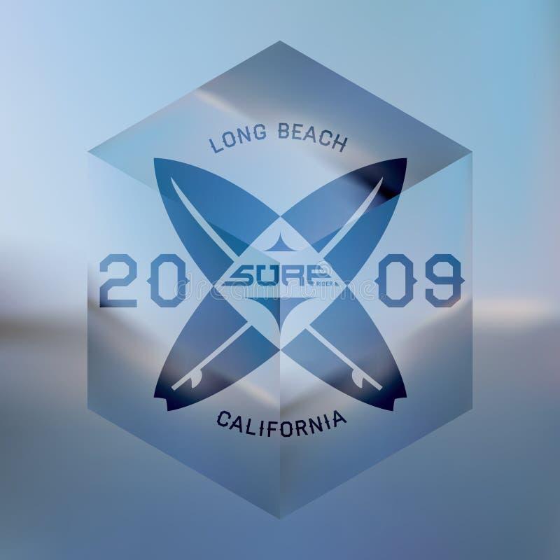 Серферы западного побережья Калифорнии Художественное произведение вектора с запачканным океаном иллюстрация штока