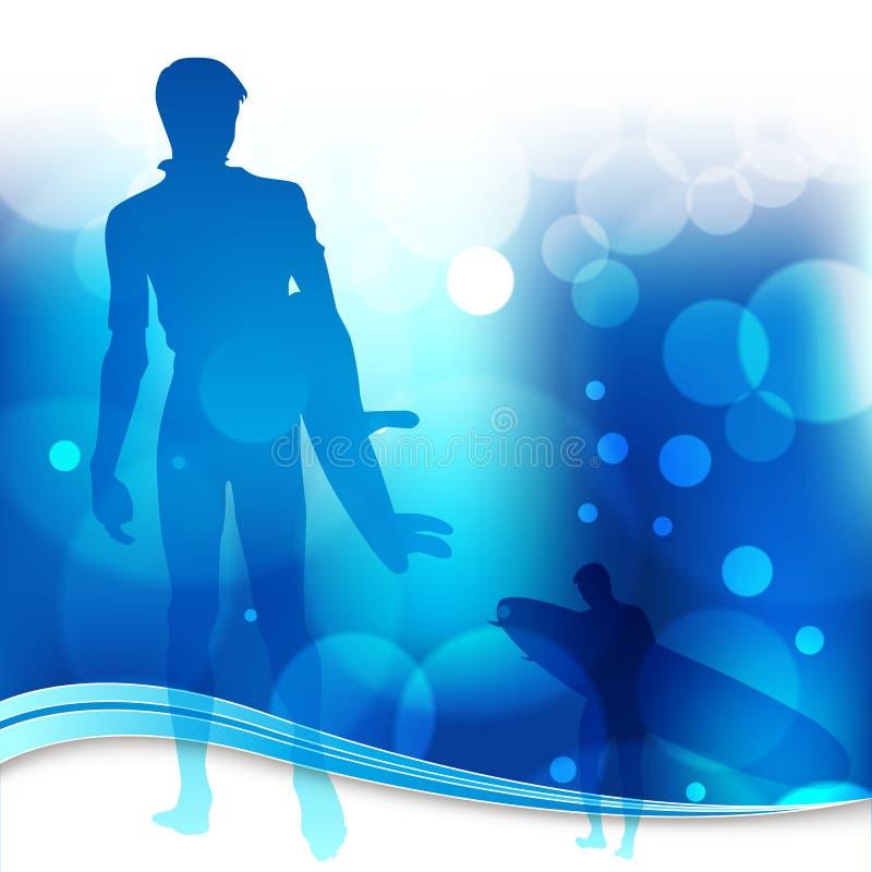 серферы предпосылки голубые светлые иллюстрация вектора