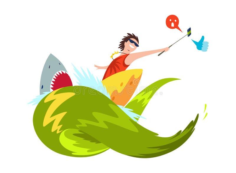 Серфер вектора занимаясь серфингом на волнах делает sephi, принимает видео Акула с большими зубами Характер в мокрой одежде с sur иллюстрация вектора