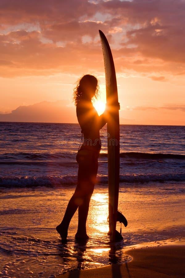 серфер захода солнца девушки стоковое фото rf