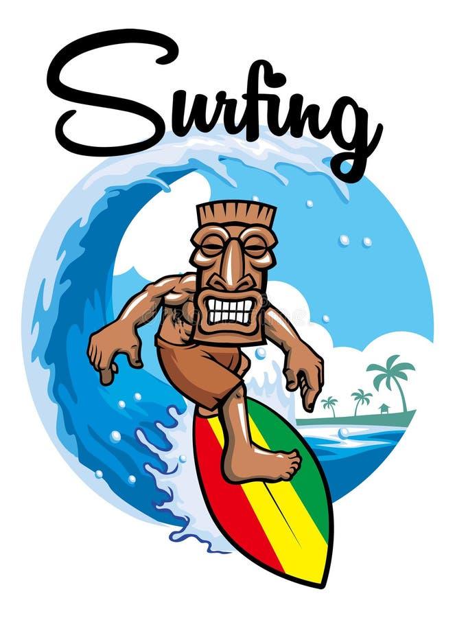 Серфинг Tiki иллюстрация вектора