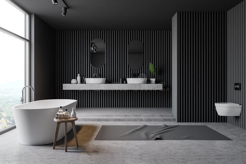 Серые деревянные интерьер, ушат, раковина и туалет bathroom иллюстрация вектора